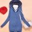 sweater เสื้อกันหนาว สีน้ำเงินเข้ม ลายหัวใจเล็กๆ มีฮู้ด thumbnail 8