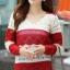 Sweater เสื้อกันหนาวแขนยาวลายขวาง แถบใหญ่ สีแดงสลับขาวครีม แขนแต่งฉลุ น่ารัก thumbnail 1