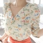 เสื้อแฟชั่น เสื้อชีฟอง ลายดอก สีขาว คอวี แขนยาว ไหล่พองเล็กน้อย thumbnail 1