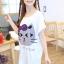 เสื้อยืดแฟชั่น สีขาว คอกลม แขนสั้น ตัวยาวคลุมสะโพก สกีนหน้าแมว thumbnail 4