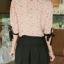 เสื้อแฟชั่น เสื้อทำงาน แขนสี่ส่วน คอบัว โทนชมพู ลายน่ารัก thumbnail 4