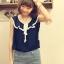 เสื้อผ้าชีฟอง คอแต่งระบายสวย แขนกุด สีน้ำเงิน ผูกโบว์น่ารัก thumbnail 3