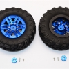 "PLASTIC 6 POLES SIMULATION WHEELS IN SILVER SCREWS WITH 1.9"" CRAWLER TIRE & 12MM HEX TOOL - 1PR"