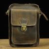 DM-5077 กระเป๋าคาดเข็มขัด สะพายข้าง หนังนูบัค สีน้ำตาล