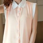 เสื้อทำงานชีฟอง Size M คอปก ทูโทนชมพูอมส้มตัดขาว แขนกุด