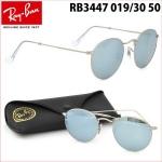 แว่นกันแดด RayBan round metal RB3447 019/30 กรอบกลม ปรอทเงิน size 50 mm