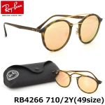 แว่นกันแดด RayBan Tech RB4266 710/2Y size 49mm กรอบสีกระน้ำตาล เลนส์สีปรอทชมพู สวยมาก