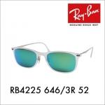 แว่นกันแดด RayBan Tech Wayfarer Light Ray Titanium RB4225 646/3R size 52 mm กรอบขาวขุ่น เลนส์ปรอทเขียว