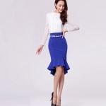กระโปรงผ้า cotton + polyester สีน้ำเงินจับจีบรอบช่วงชายกระโปรงใส่แมชกับเสื้อได้หลายแบบค่ะ รหัส A85