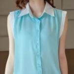 เสื้อชีฟอง Size L คอปก ทูโทนฟ้าตัดขาว แขนกุด
