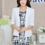 [[พร้อมส่ง]] BG เสื้อแจ็คเก็ตทรงเสื้อสูทติดกระดุมหน้าแขนยาวไสตล์เกาหลีค่ะ SL9481