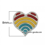 หัวใจ 8x8 มม. เคลือบ Enamel หลากสี (ตัวติดต่างหู)