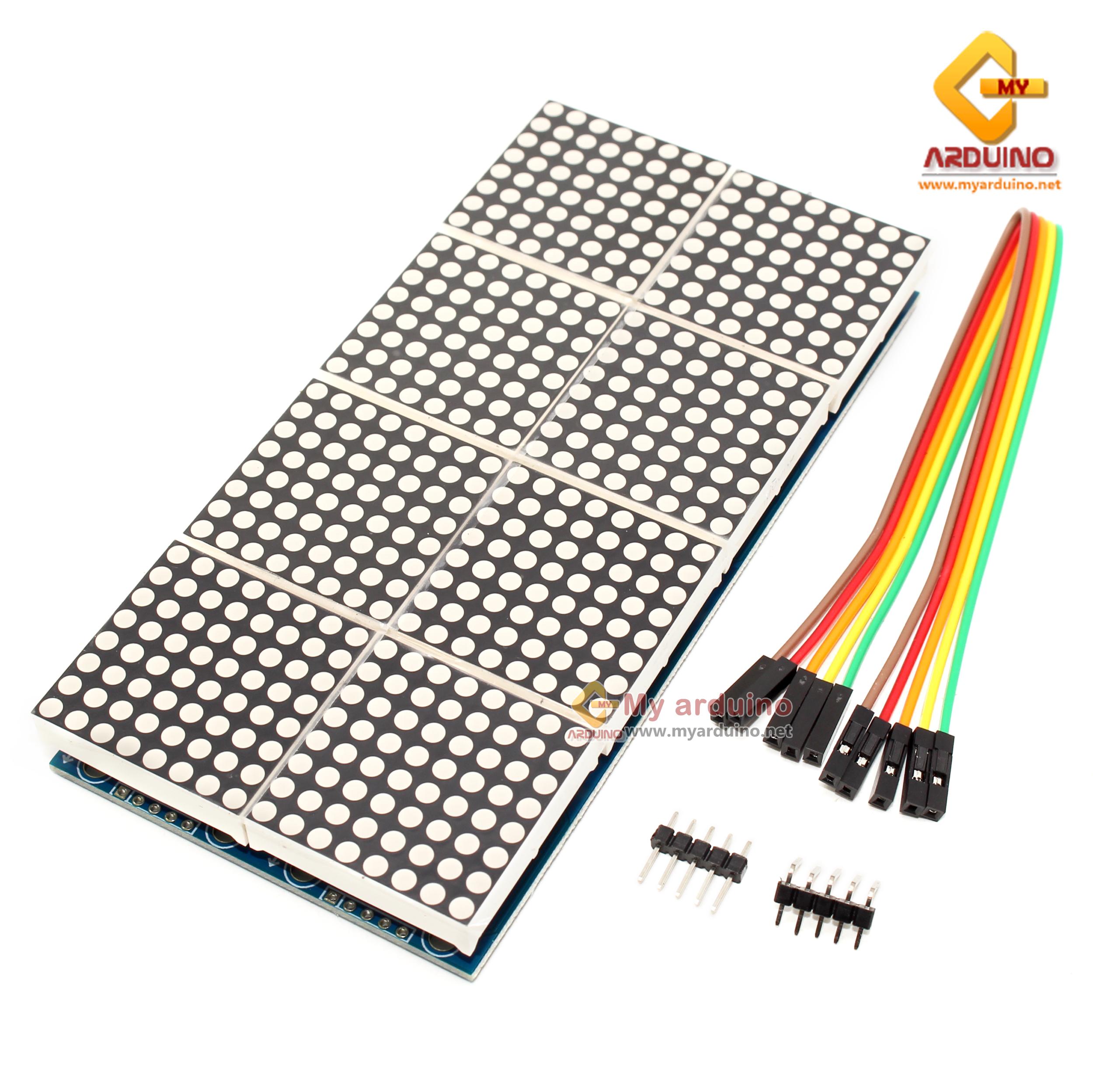 LED Matrix Driver MAX7219 IC Driver Module + LED Dot Matrix 8x8 ขนาด 32mm x  32mm 8 ชุด 2แถว สีแดง