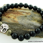 BLACK OWL -PYRITE-OBSIDIAN 8 mm.