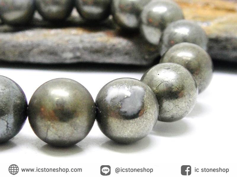 สร้อยหิน ไพไรต์ (Pyrite) 10mm. (19cm)
