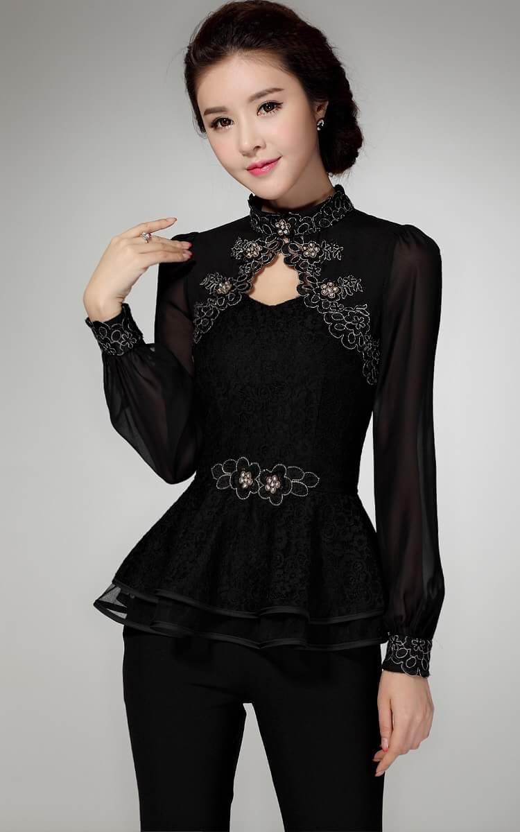 [พร้อมส่ง] ใส่งานไหนก็สวย เสื้อผ้าลูกไม้และผ้าชีฟองแขนยาวสีดำ สวมใส่สบาย งานตัดเย็บสวยค่ะ รหัสMN54