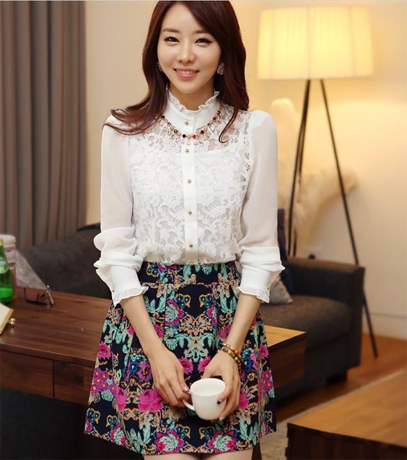 [พร้อมส่ง] เสื้อลูกไม้สีขาวเนื้อผ้าอย่างดีทั้งตัว ต่อช่วงแขนด้วยผ้าชีฟอง เหมาะสำหรับใส่ทุกโอกาส รหัส A111