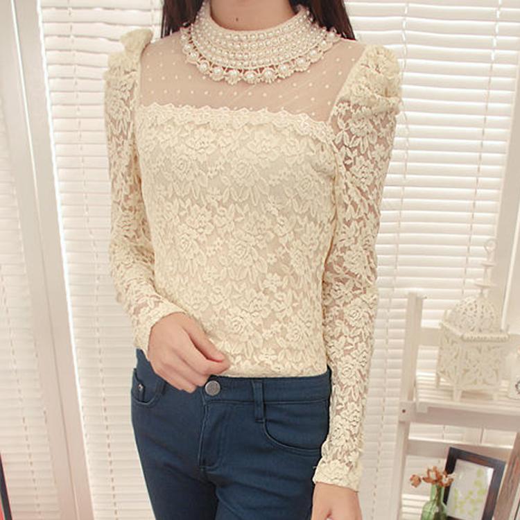 [พร้อมส่ง] เสื้อลูกไม้ลายสวย คุณภาพดี ประดับมุกรอบคอสวยเก๋ cutting/pattern เนี๊ยบ A41