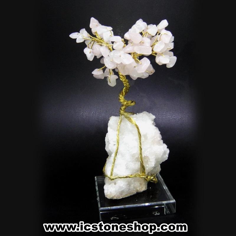 ต้นไม้มงคล หินโรสควอตซ์-ฐานควอตซ์ ใช้เสริมฮวงจุ้ย โต๊ะทำงาน (183g)