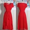 [พร้อมส่ง] เดรสผ้าชีฟองสีแดงสดใส สวมใส่สบาย