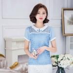 [พร้อมส่ง]เสื้อสไตล์เกาหลี ผ้าลูกไม้ตัดต่อผ้าชีฟอง คอปกแต่งคริสตัล ทรงตรงเว้าเอวนิดหน่อย ติดกระดุมคอด้านหลังค่ะรหัสMN41
