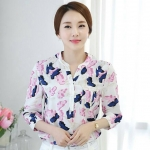 [พร้อมส่ง]เสื้อเชิ้ตสไตล์เกาหลี ผ้าชีฟองพิมพ์ลายสีสดใส สวมใส่สบายตัดเย็บเรียบร้อยค่ะ รหัสMN38