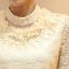 [พร้อมส่ง] เสื้อลูกไม้แขนยาวเนื้อดีสีเบจ ขอบคอตั้งประดับมุกและรอบคอประดับด้วยดอกไม้สวยเก๋ thumbnail 5