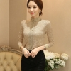 [พร้อมส่ง]เสื้อไสตล์เกาหลี ดีเทลผ้าลูกไม้เนื้อนิ่มทรงเข้ารูป คอติด แขนยาวแต่งกระดุมหน้า งานมีซับในการตัดเย็บเรียบร้อยคุณภาพดีค่ะรหัสMN12