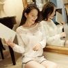 [พร้อมส่ง] เสื้อผ้าลูกไม้สีขาวเนื้อดี ซับในในตัว รอบอกประดับด้วยคริสตัลสวยเก๋ ใส่ได้หลายโอกาส A221