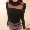 [พร้อมส่ง] เสื้อลูกไม้แขนยาวสีดำเนื้อดี ประดับมุกรอบคอสวยเก๋ ตัดเย็บเนียบร้อยสวยเหมือนแบบค่ะ รหัส A22