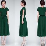 [หมด] ชุดเดรสยาวผ้าชีฟองสีเขียวใส่สบายตัดเย็บเรียบร้อยสวยเหมือนแบบค่ะ รหัสA401