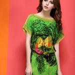 ChunMeiNa ชุดเดรสผ้าพิมพ์ลายสีเขียวคอปาด แขนสั้นทรงหลวมสวยเหมือนแบบ100%ค่ะ VV7604