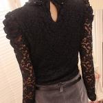 [พร้อมส่ง] เสื้อลูกไม้แขนยาวสีดำเนื้อดี ประดับมุกรอบคอสวยเก๋ ตัดเย็บเนียบเรียบร้อย
