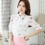 [พร้อมส่ง]เสื้อสไตล์เกาหลี ผ้าชีฟองผสมลูกไม้พิมพ์ลาย ผ้าเนื้อดีสวมใส่สบายตัดเย็บเรียบร้อยค่ะรหัส MN40