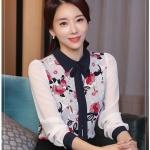 [พร้อมส่ง]เสื้อสไตล์เกาหลี ผ้าชีฟองพิมพ์ลายเนื้อดีงานตัดเย็บเรียบร้อย สวมใส่สบายเหมาะกับหน้าร้อนนี้,ติดกระดุมผ่าหน้าทรงตรงเว้าเอวนิดๆ รหัสMN57